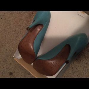 J. Crew Blue Leather Heels